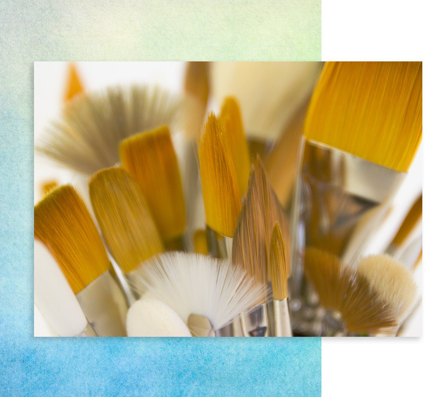 assorted sized paint brushes